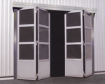 Speed folding doors